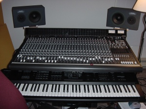 MIDI controller, mixer and monitors